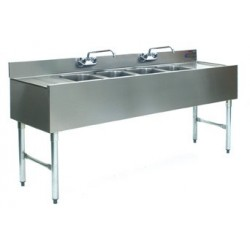"96"" 4-Hole UnderBar Sink, with 2 DrainBoards"