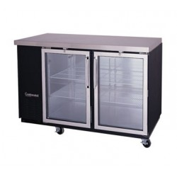 "Backbar Cooler, 69"", 2-Glass Door, Black Exterior"