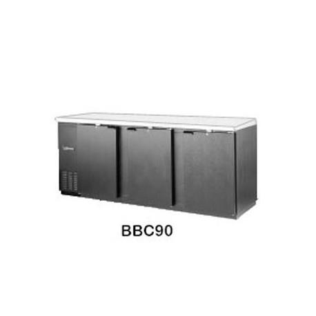 """Backbar Cooler, 90"""", 3-Door, Black Exterior"""