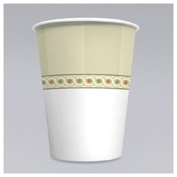 8-oz Mira-Glaze Paper Hot Cups, Sage Collection Design