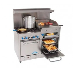 "Comstock Castle Range 48"", 4 burner, 24"" Griddle/Broiler, Double Oven"