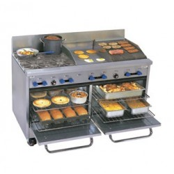 "Comstock Castle Range 60"", 4 burners, 18"" griddle, 18"" Char-Broiler, 2-Ovens"