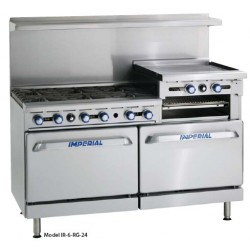 "Restaurant Range, Gas, 60"" wide, (6) Open Burners, 24"" Broiler/Griddle"
