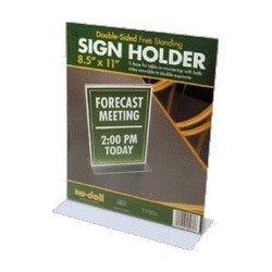 "Standing Sign Holder, T Frame, 8-1/2""Wx11""H, Clear"