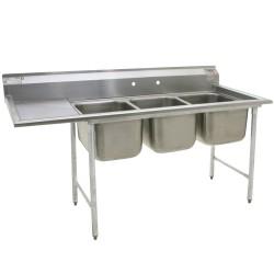 "3-Hole Sink, NSF, w/ 1 ea Left-Hand 18"" Drainboard"