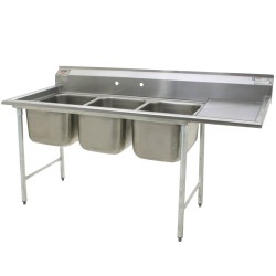 "3-Hole Sink, NSF, w/ 1 ea Right-Hand 18"" Drainboards"