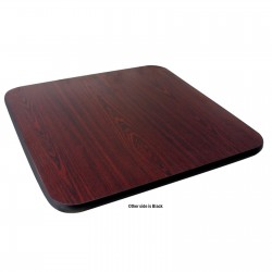 "Table Top 36"" x 36"" Square, Melamine, Mahogany/Black"