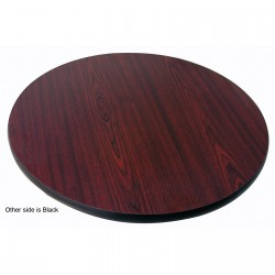"Table Top 24"" Round, Melamine, Mahogany/Black"