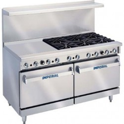 "Restaurant Range, 60"", Gas, 6 Open Burners, 24"" Griddle"